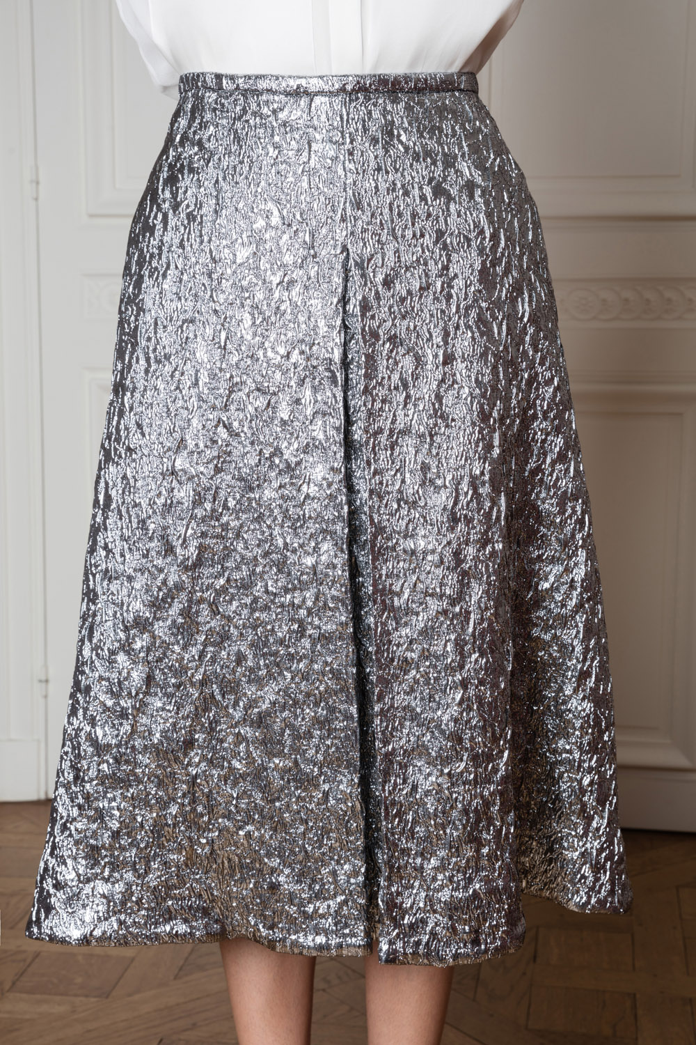 Metallic grey midi skirt