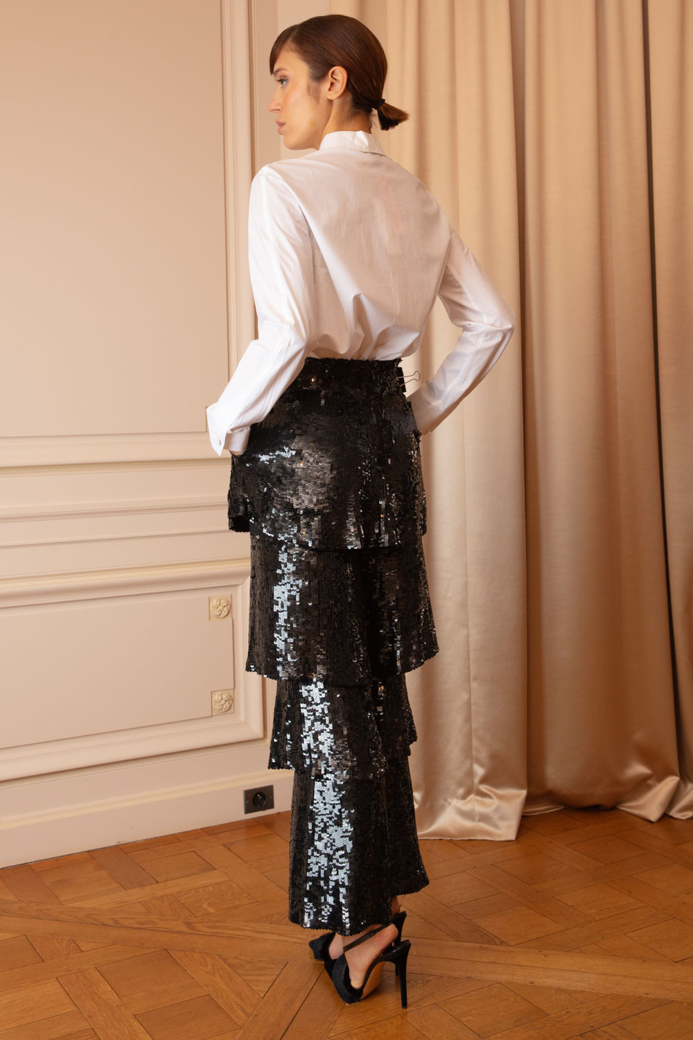 Black sequin tiered and flared pants