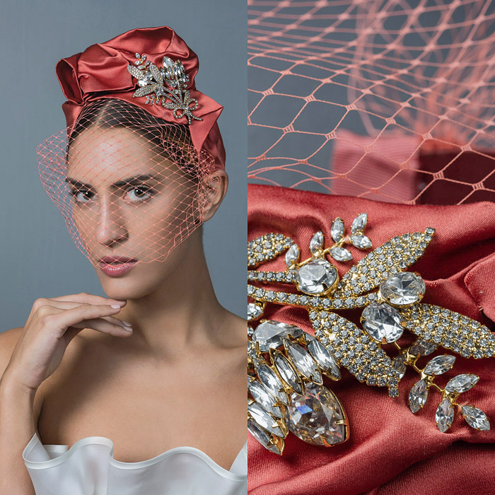 CORAIL RUCHED SATIN VEILED HEAD BAND EMBELLISHED WITH SWAROVSKI CRYSTAL FLOWERS