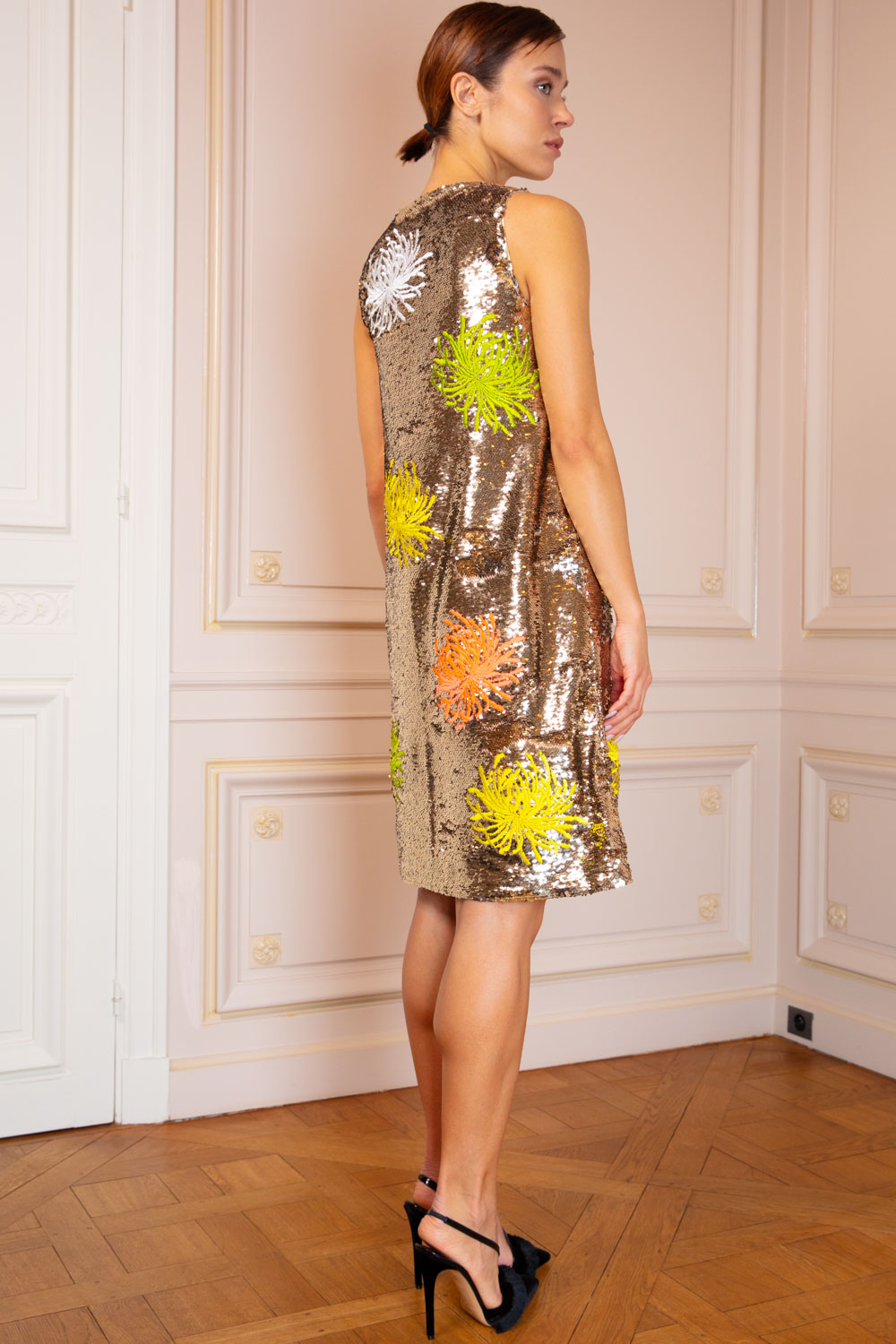 Sequinned trapeze dress with embroidered blooms