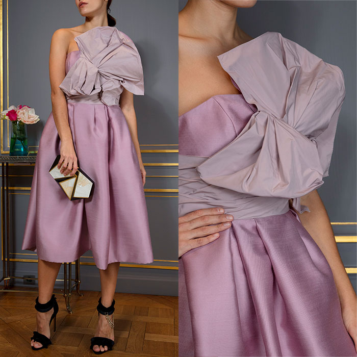 Parma violet bustier dress with sculptural rosette corsage