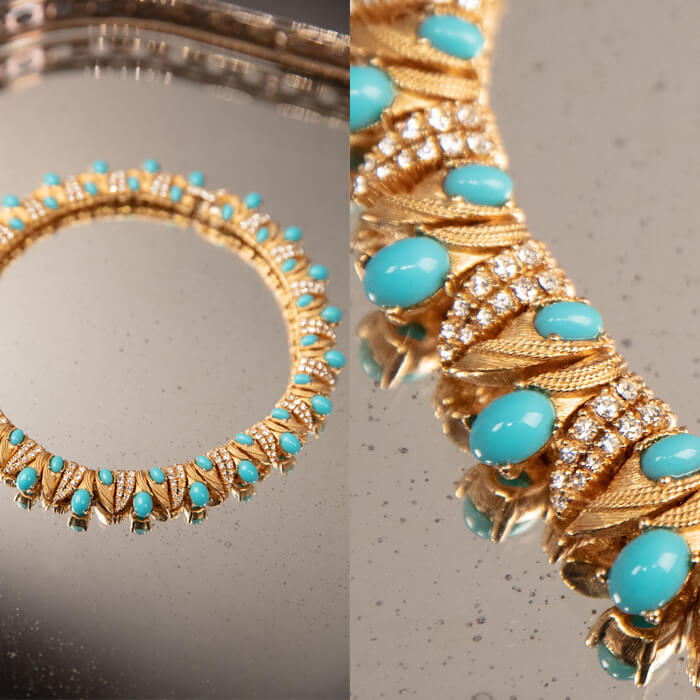 Turquoise and gold choker