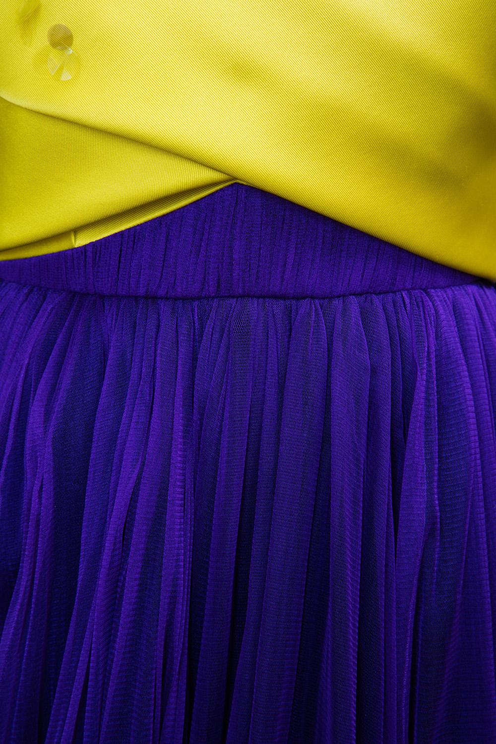 Yellow and purple gown