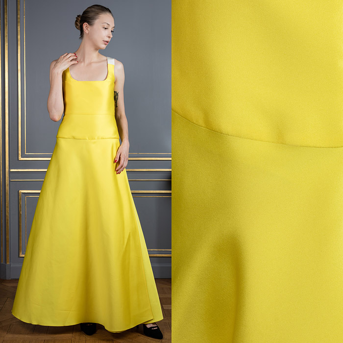 Canary yellow floor-length gown