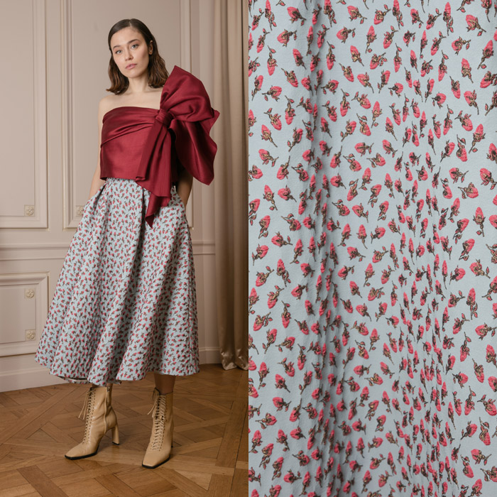 Circular midi skirt in rosebud brocade