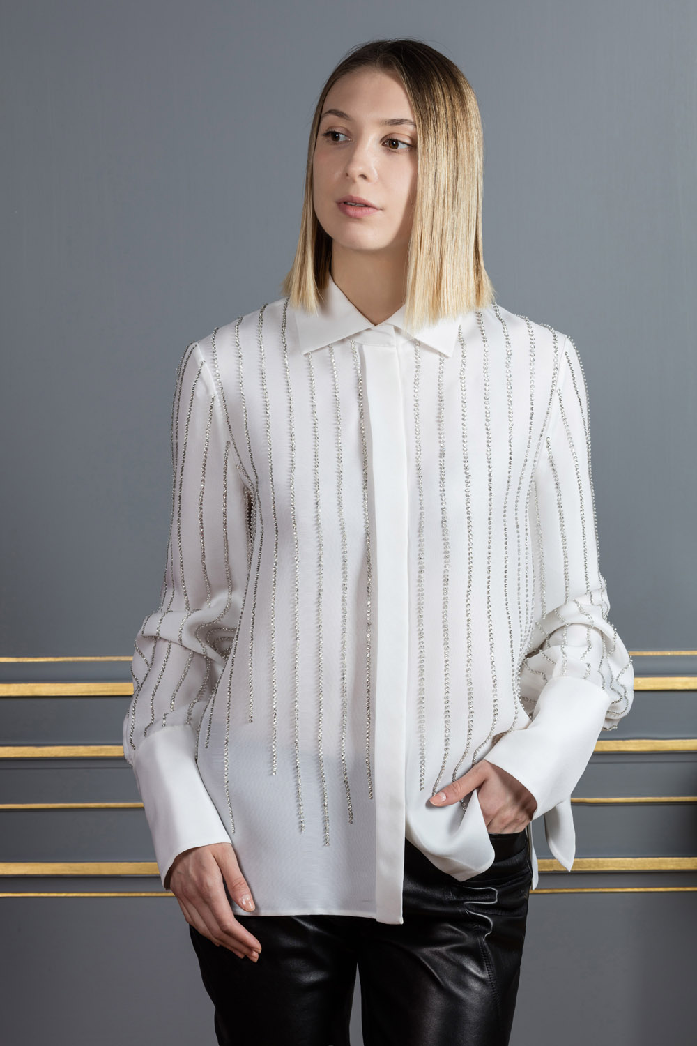 Ivory silk shirt with glass embroidery