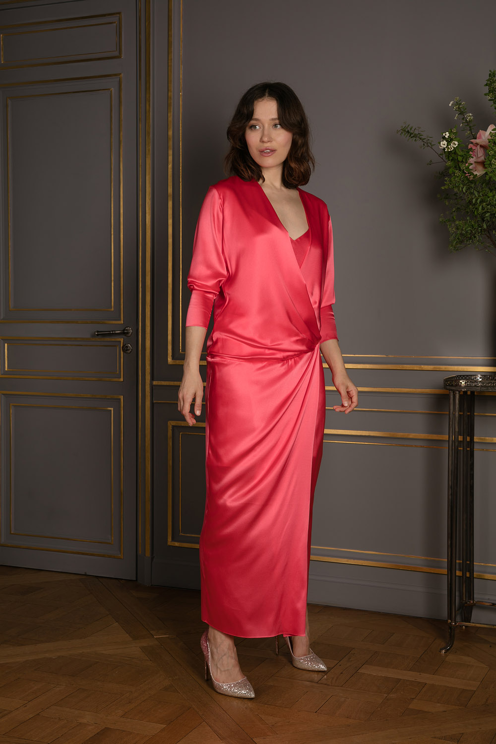 Ankle-length coral slip-on wrap dress with plunging cross over neckline